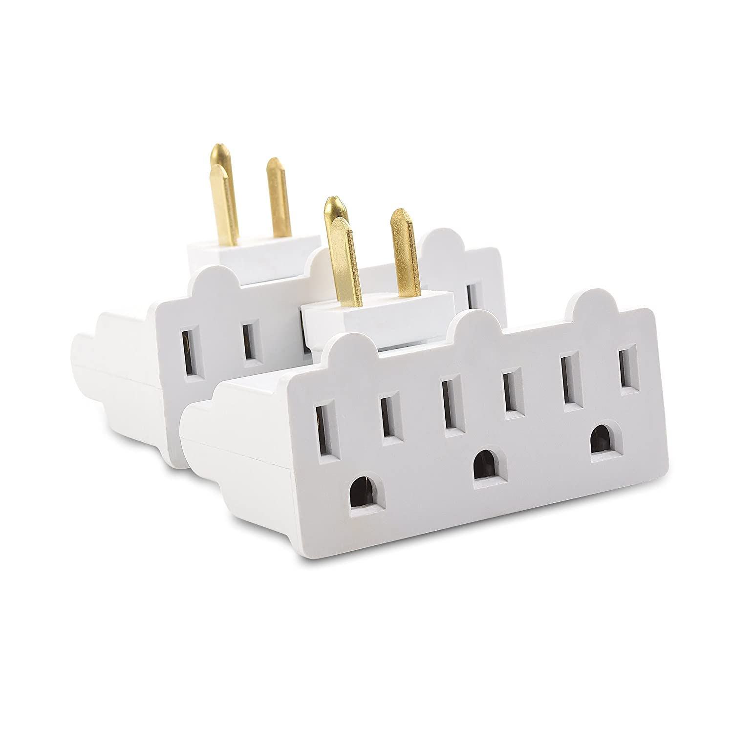 Cable Matters (2-Pack) 3-Outlet Grounded 180 Degree Swivel Wall Tap