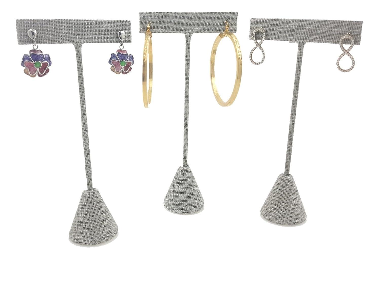 3 Burlap Fabric Earring T Stand Showcase Displays 888 Display USA , Burlap 5.75 3 Pack