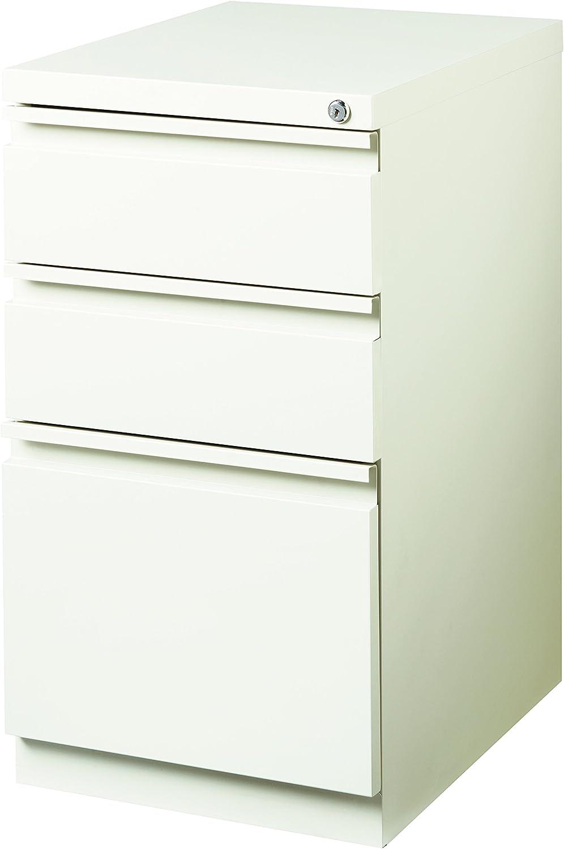 "Pro Series Three Drawer Mobile Pedestal File Cabinet, 20"" deep, White"