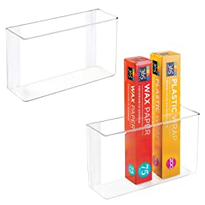 "mDesign Modern Plastic Adhesive Cabinet and Wall Mount Storage Organizer Bin for Boxed Sandwich Bags, Plastic Wrap, Aluminum Foil, Parchment/Wax Paper, 2 Pack, 3.5"" x 11"" x 6.5"" - Clear"