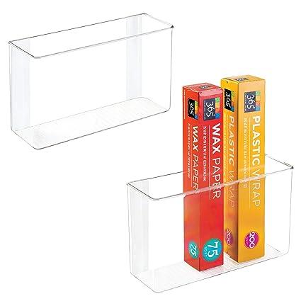 mDesign Juego de 2 organizadores de cocina – Cajas de almacenaje autoadhesivas  para productos de limpieza 6dc7359198d3