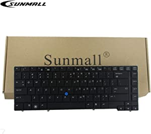 SUNMALL New Keyboard Replacement with Pointer Compatible with HP EliteBook 8440p 8440w Series Black US Laptop Compatible with Part Number 594052-001 598042-001 …