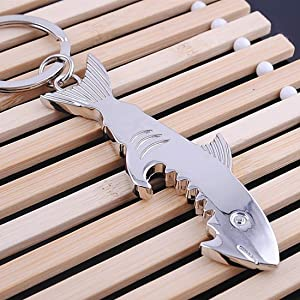 Fishing-Accessories - Shark Shaped Bottle Opener Keychain Zinc Alloy Silver Color Key Ring Beer Bottle Opener Outdoor Tools
