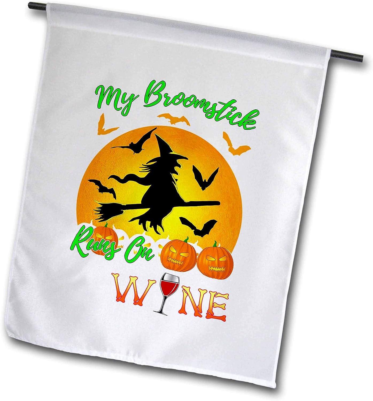 3dRose Macdonald Creative Studios – Halloween - My Broomstick Runs On Wine Funny Halloween Flying Witch - 18 x 27 inch Garden Flag (fl_322559_2)