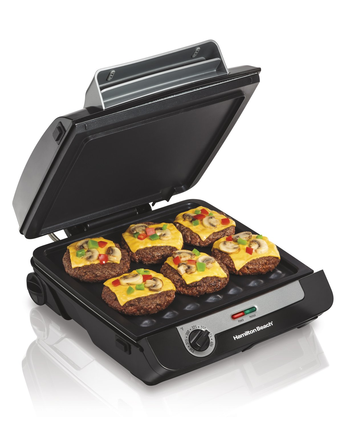 Hamiton Beach (25600) Electric Smokeless Indoor Grill & Electric Griddle Combo with Bacon Cooker & Removable Plates