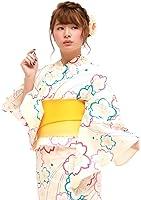 f8149786fc95e8 Amazon | 浴衣 3点セット レディース 綿 平織 女性 S ジュニア 白 青 ...