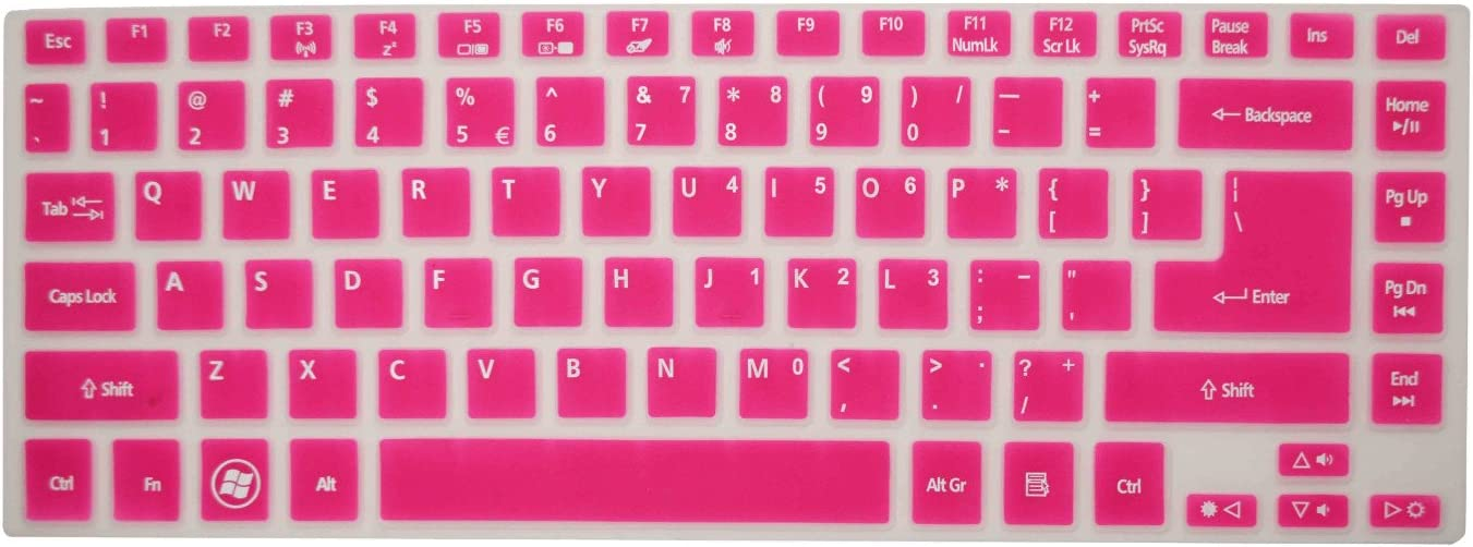"""PcProfessional Hot Pink Ultra Thin Silicone Gel Keyboard Cover for Acer Aspire R14 R3 14"""" Laptop with Application Kit (Please Compare Keyboard Layout and Model)"""
