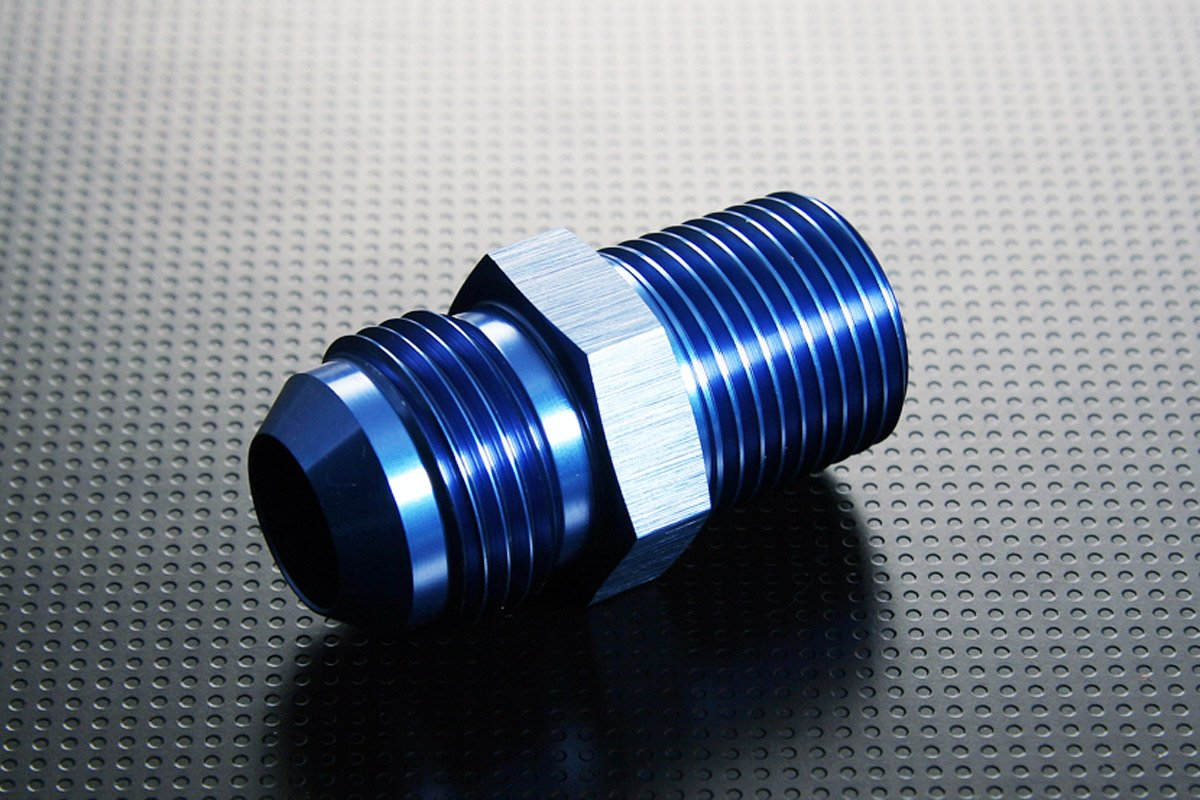 Aluminum Fitting Adapter AN6-6AN AN-6 to M18 x 1.5, Male Flare to Metric Thread Straight Union by LC