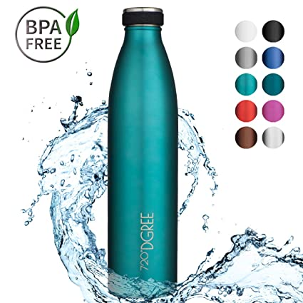 720°DGREE Botella Agua Acero Inoxidable milkyBottle – 1 Litro, 1l, 1000ml, Azul | Novedoso Antigoteo con Termo de vacío térmico termica Beber en el ...