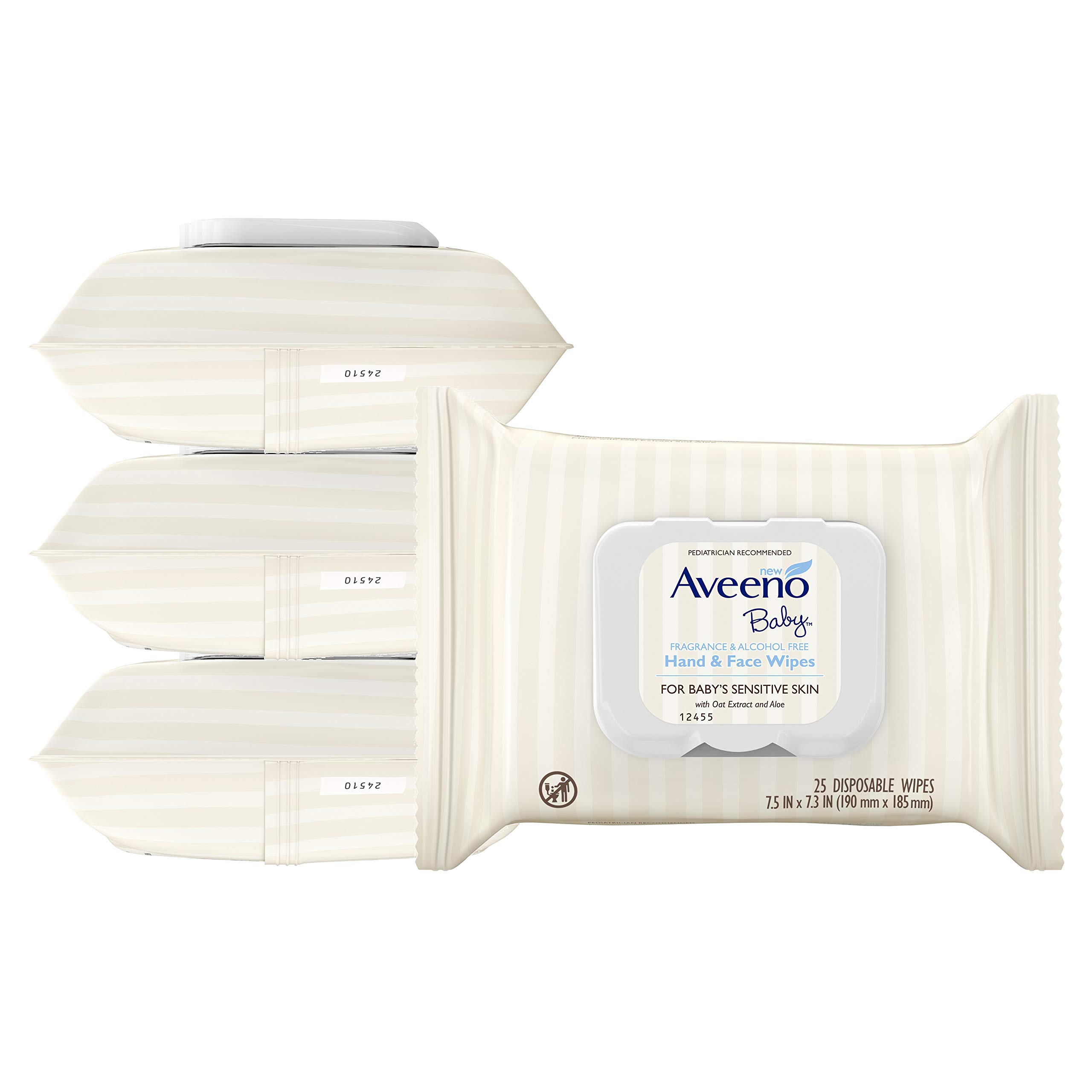 Aveeno Baby Hand & Face Baby Wipes with Oat Extract 25 Count (Pack of 4) by Aveeno Baby