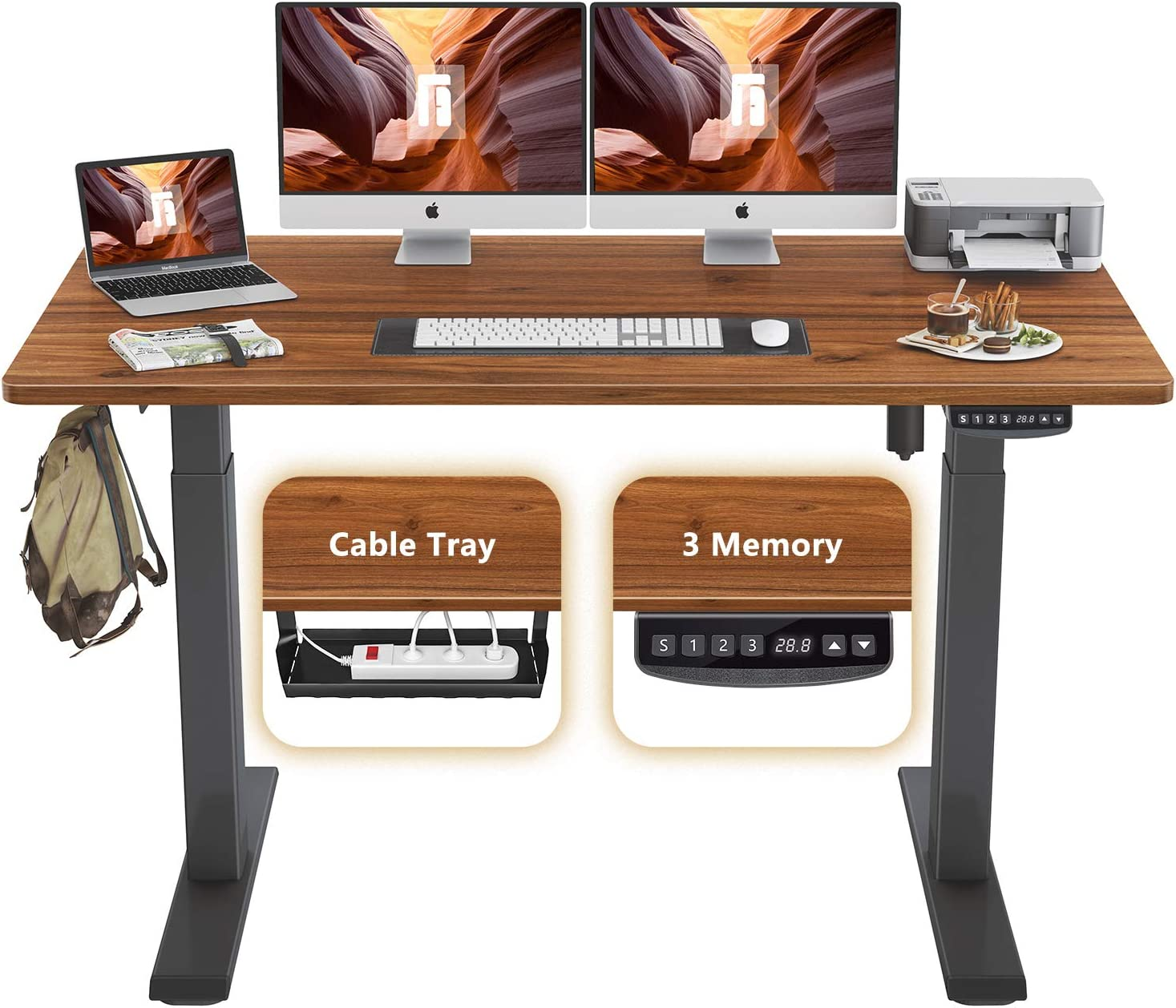 FEZIBO Height Adjustable Electric Standing Desk, 63 x 24 Inches Stand Up Table, Sit Stand Home Office Desk with Splice Board, Black Frame/Espresso Top