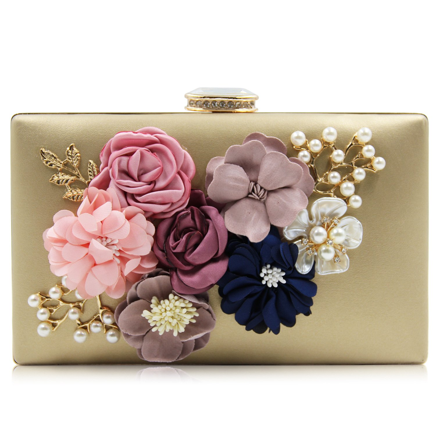 Women Evening bags Beaded Flower Clutch Purses Bags for Wedding Party Gold