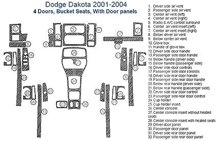 Amazon com: Dodge Dakota Dash Trim Kit, 4 Doors, Bucket Seats, With