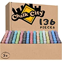 Chalk City - 136 Pack 17 Colors Jumbo Washable Sidewalk Chalk Set Great for Playground Outdoor use, or Gift for Birthday Party