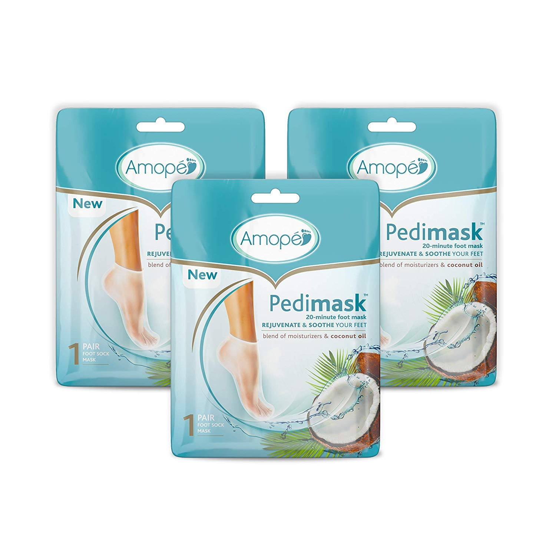 Amope Pedimask Foot Socks Mask, Coconut Oil Essence (Pack of 3)