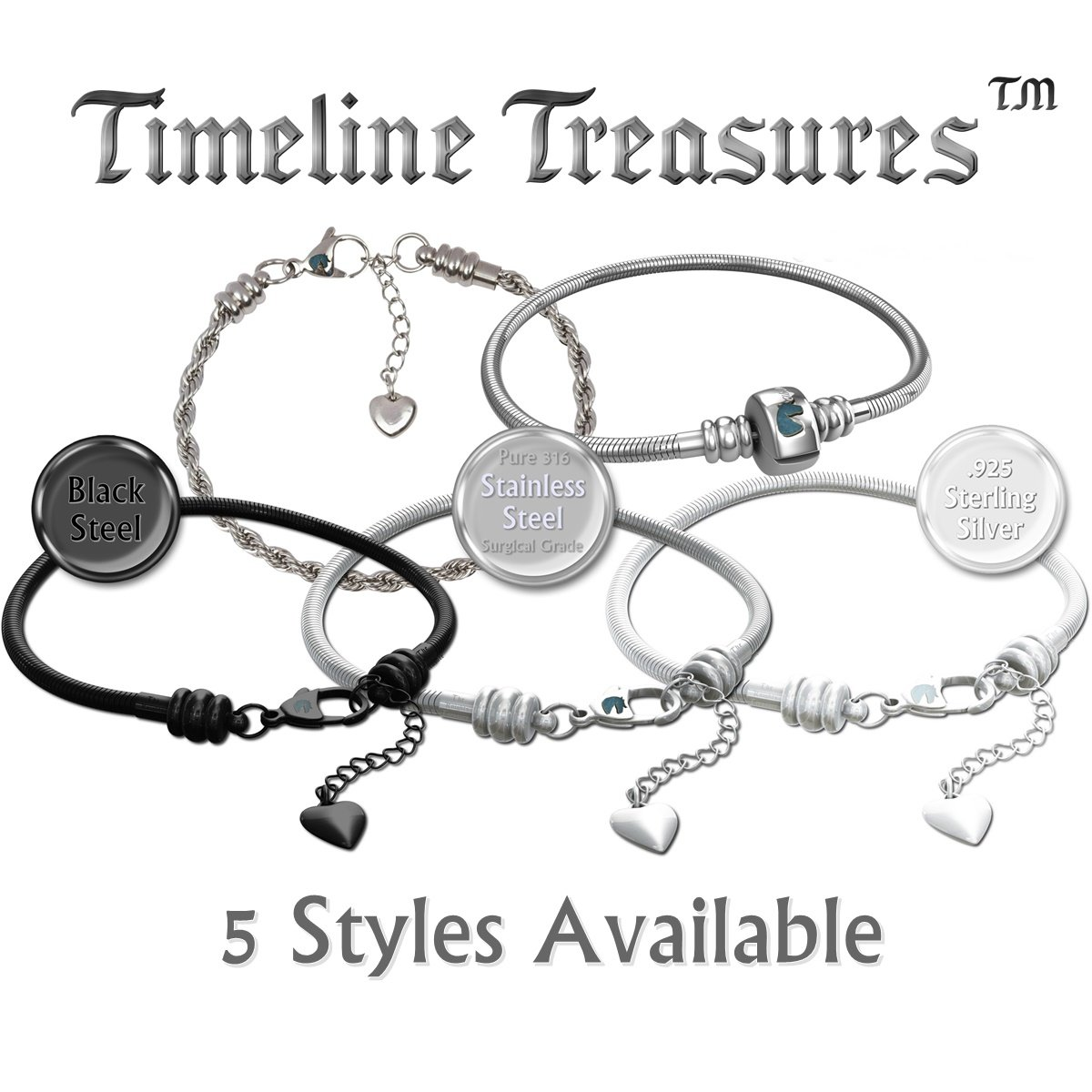 Timeline Treasures European Charm Bracelet For Women and Girls Bead Charms, Stainless Steel Snake Chain, Claw 7.5 Inch by Timeline Treasures (Image #7)