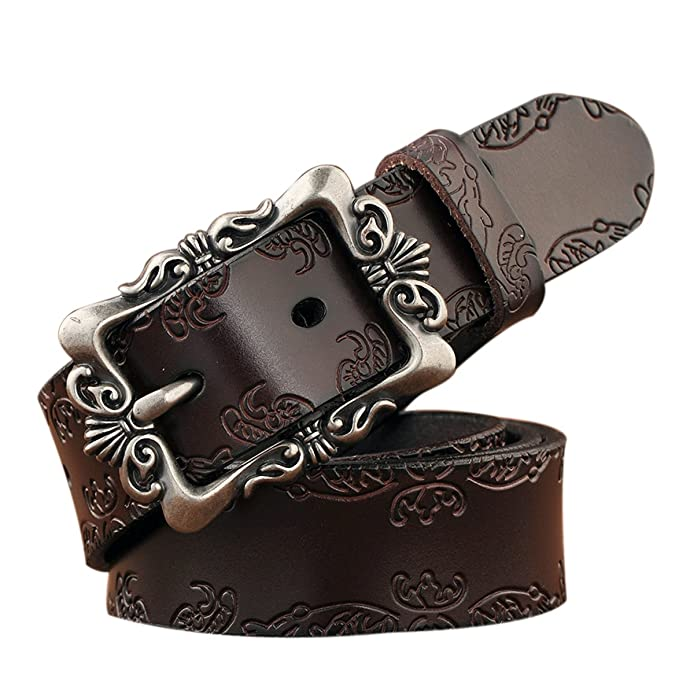 a702b8530 TUNGHO 100% Vintage Genuine Leather Belts For Women Cowhide Embossing Design  Carving Buckle Plus Size