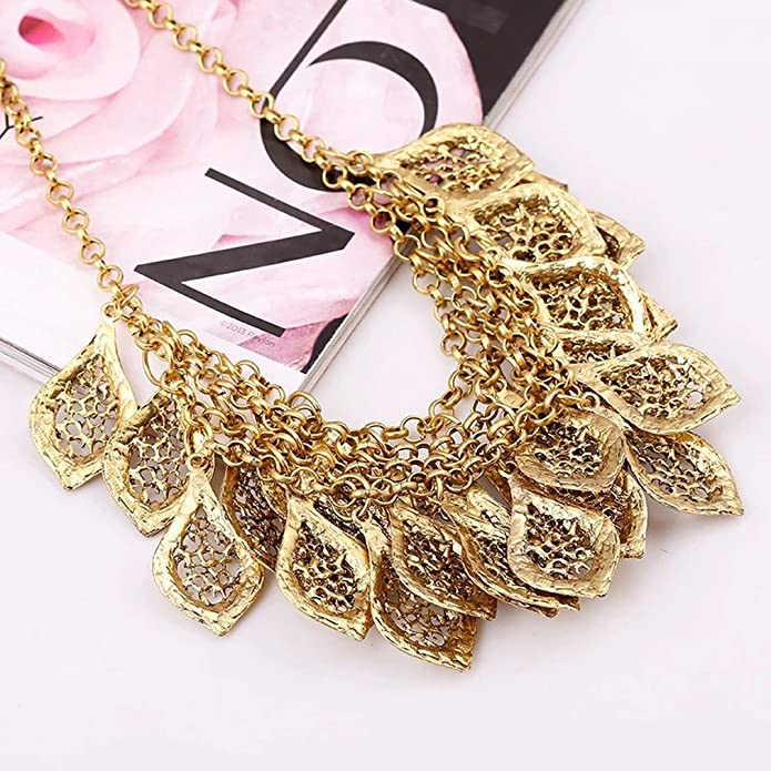 YAZILIND Vintage Gorgeous Multilayer Gold Plated Leaves Chain Collar Bib Temperament Necklace vjwnu0Ec