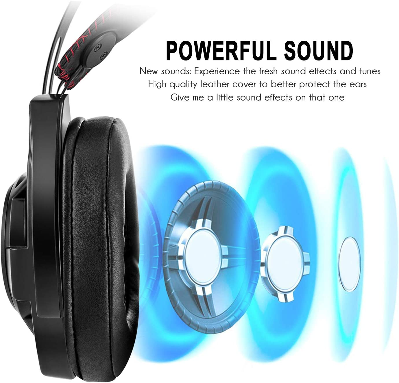 BAIYI PC Gaming Headset with Noise-Reducing Breathing Light Built-in Microphone Wired Stereo