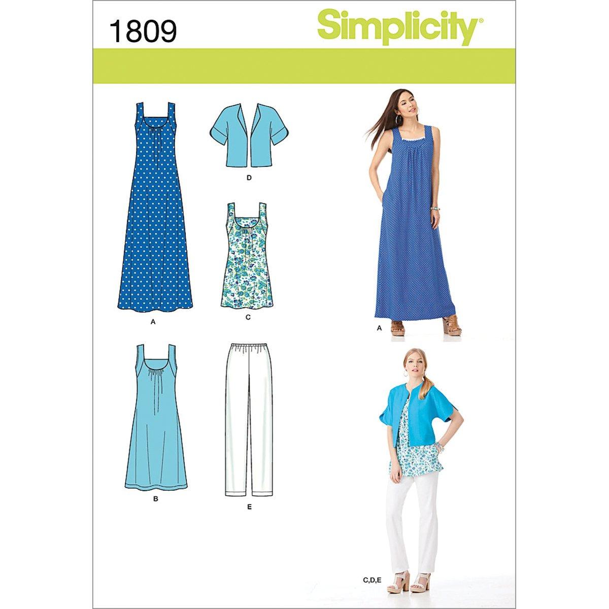 Simplicity 1809 Misses Sportswear Sized XXS-XXL Sewing Pattern, Size A (XXS-XS-S-M-L-XL-XXL) by Simplicity Creative Group Inc - Patterns   B007SOVIF2