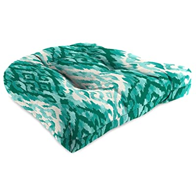 "1-Pack 18"" X 4"" Outdoor Wicker Chair Cushions Peacock Blue Geometric Polyester Uv Resistant: Home & Kitchen"