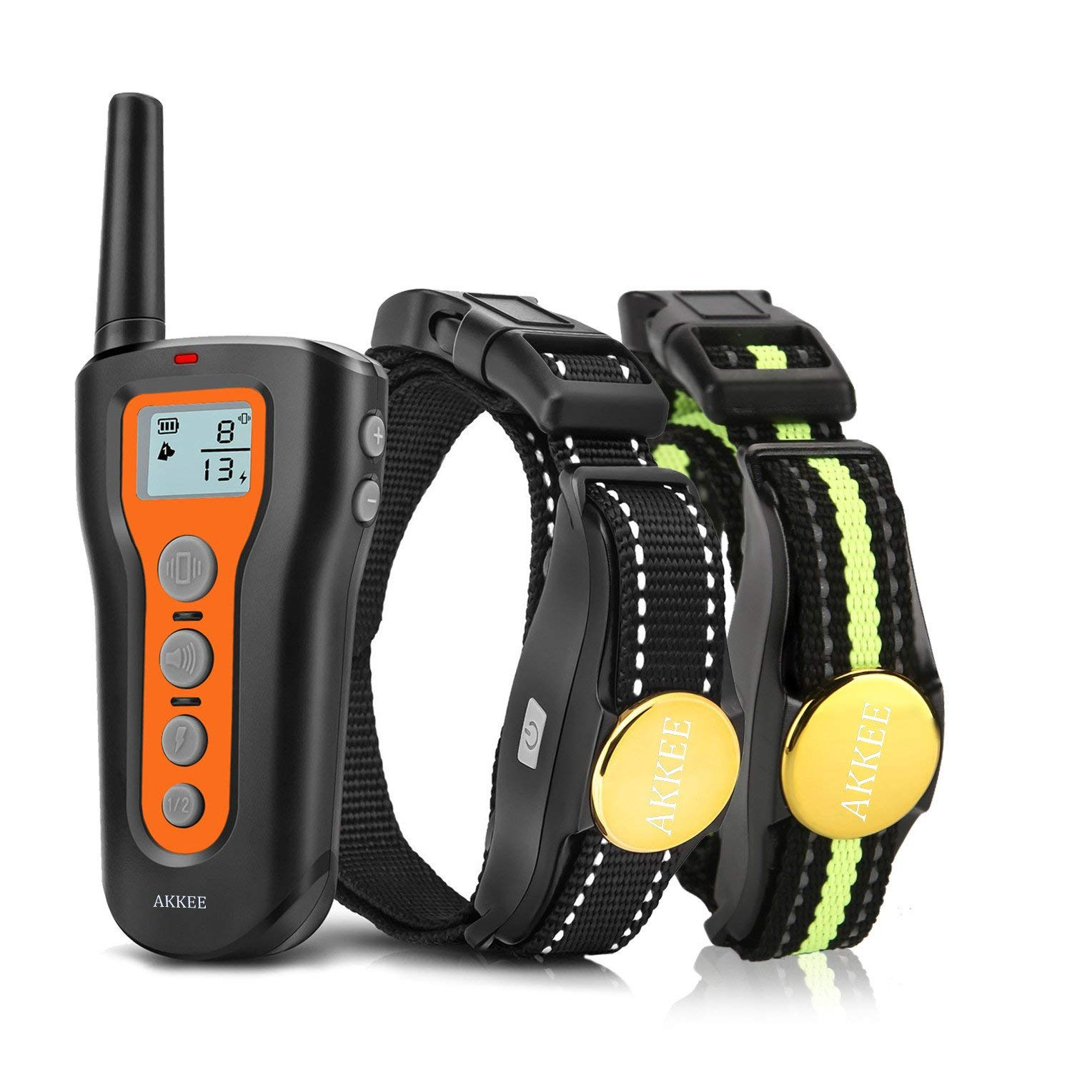 AKKEE Dog Training Collar for 2 Dogs - Rechargeable Dog Shock Collar,3 Training Modes Beep, Vibration and Shock, Waterproof Training Collar, Up to 1000Ft Remote Range, Pet Trainer Electric E-Collar by AKKEE