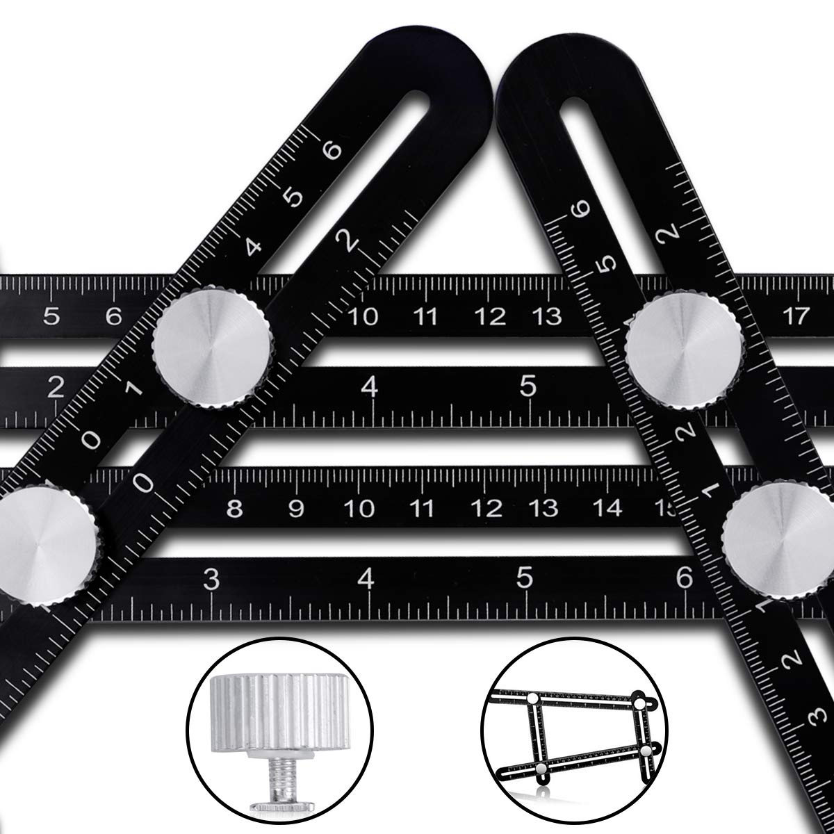 Angleizer Template Tool CRAZYLYNX Multi Angle Measuring Ruler Premium Aluminum Alloy Easy Angle Ruler for DIY Handymen Builders Carpenters