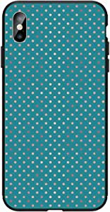 Okteq Case for iphone XS Max Shock Absorbing PC TPU Full Body Drop Protection Cover matte printed - blue green and golden dots By Okteq