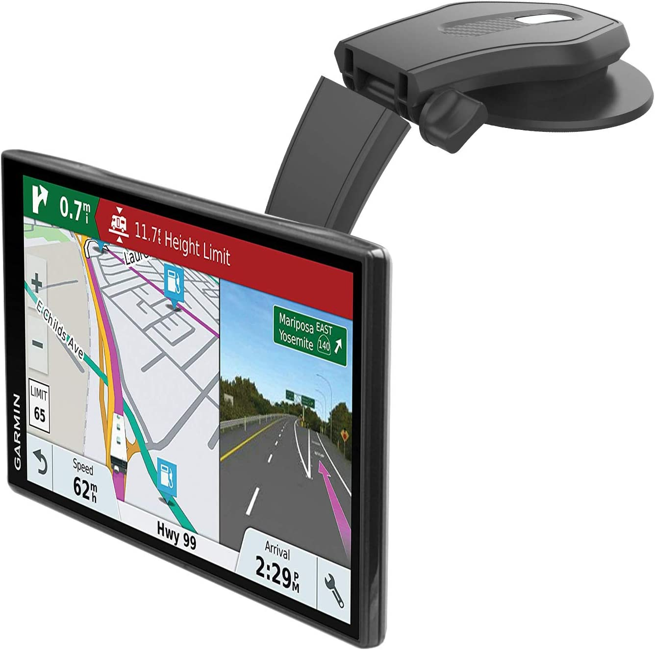 Flip Down GPS Car Dashboard Mount for Garmin Portable Navigators, 1Zero Replacement Mounting Base Stick On Dash Holder with Adjustbale Arm for All Garmins Nuvi Dezl Drivesmart DriveLuxe