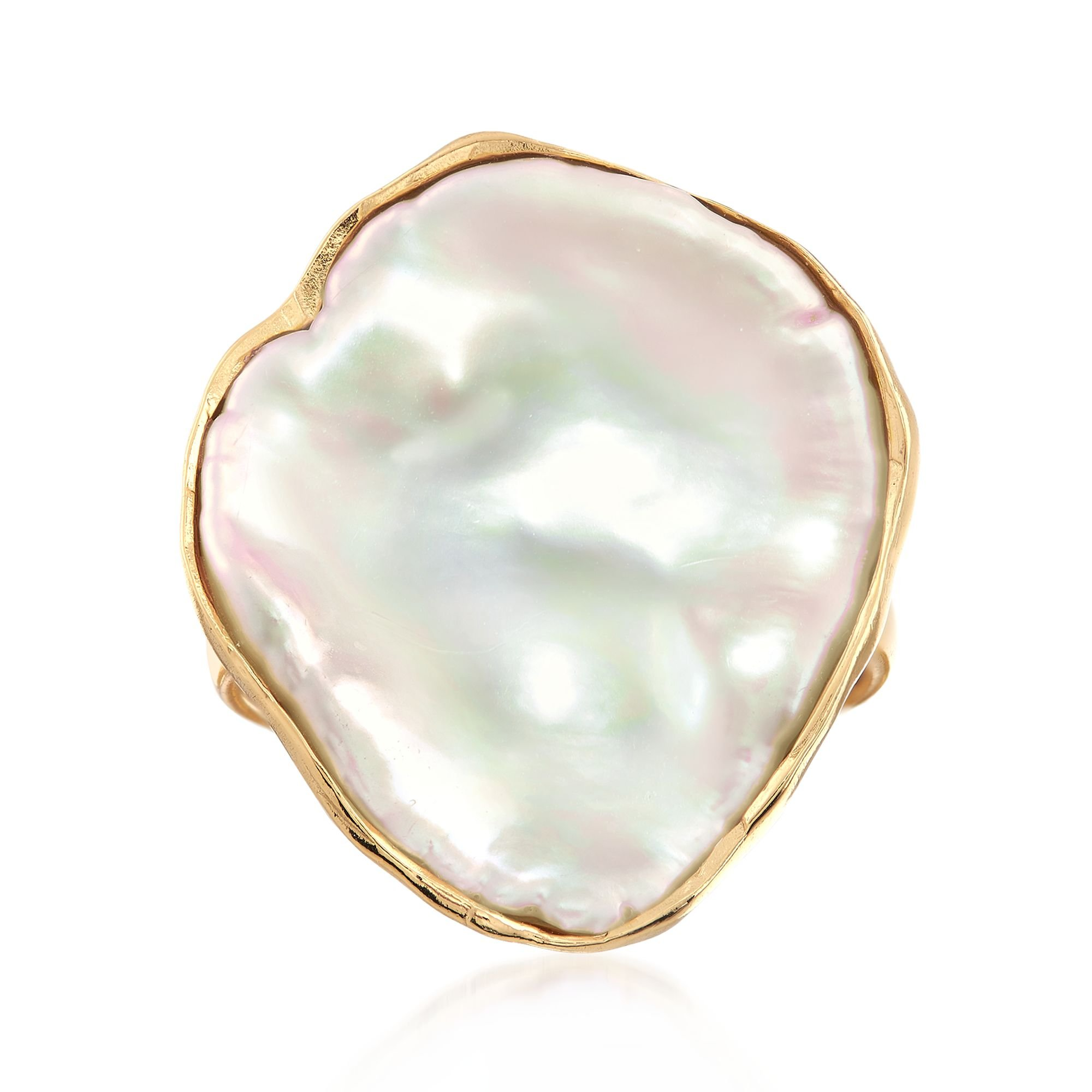 Ross-Simons Cultured Baroque Keshi Pearl Free-Form Ring in 18kt Gold Over Sterling