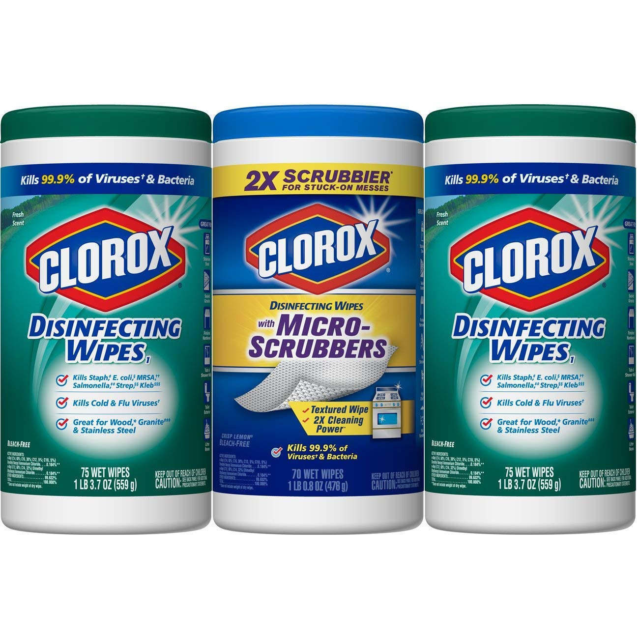 Clorox Disinfecting Wipes ZXFAF Disinfecting Wipes Plus with Micro-Scrubbers Value Pack - Bleach Free Cleaning Wipes, Pack of 12, 75 Wipes Each