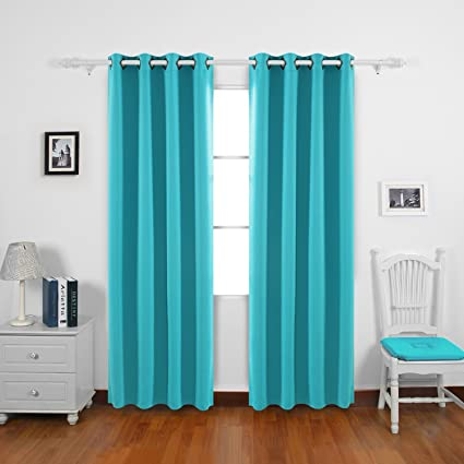 Bon Deconovo Turquoise Curtains For Bedroom Grommet Solid Thermal Insulated  Room Darkening Curtains 2 Panel Set 52W