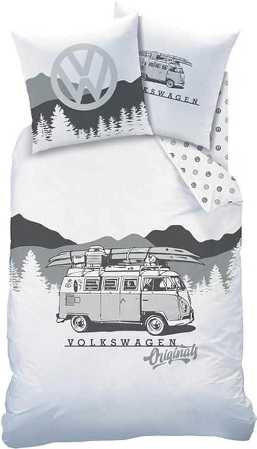 VW Volkswagen Set Ropa de cama · Camp FEVER · ORIGINALS Bulli Campervan Autobús · Funda de cojín 80x80 + Funda De Edredón 135x200 cm - 100% Algodón en ...