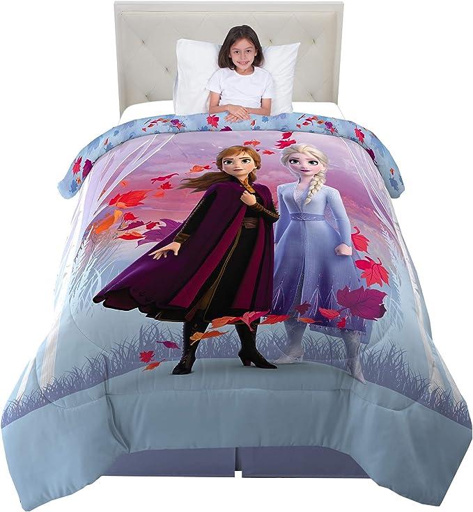 Frozen 2 Girls Multicolor Sherpa Comforter