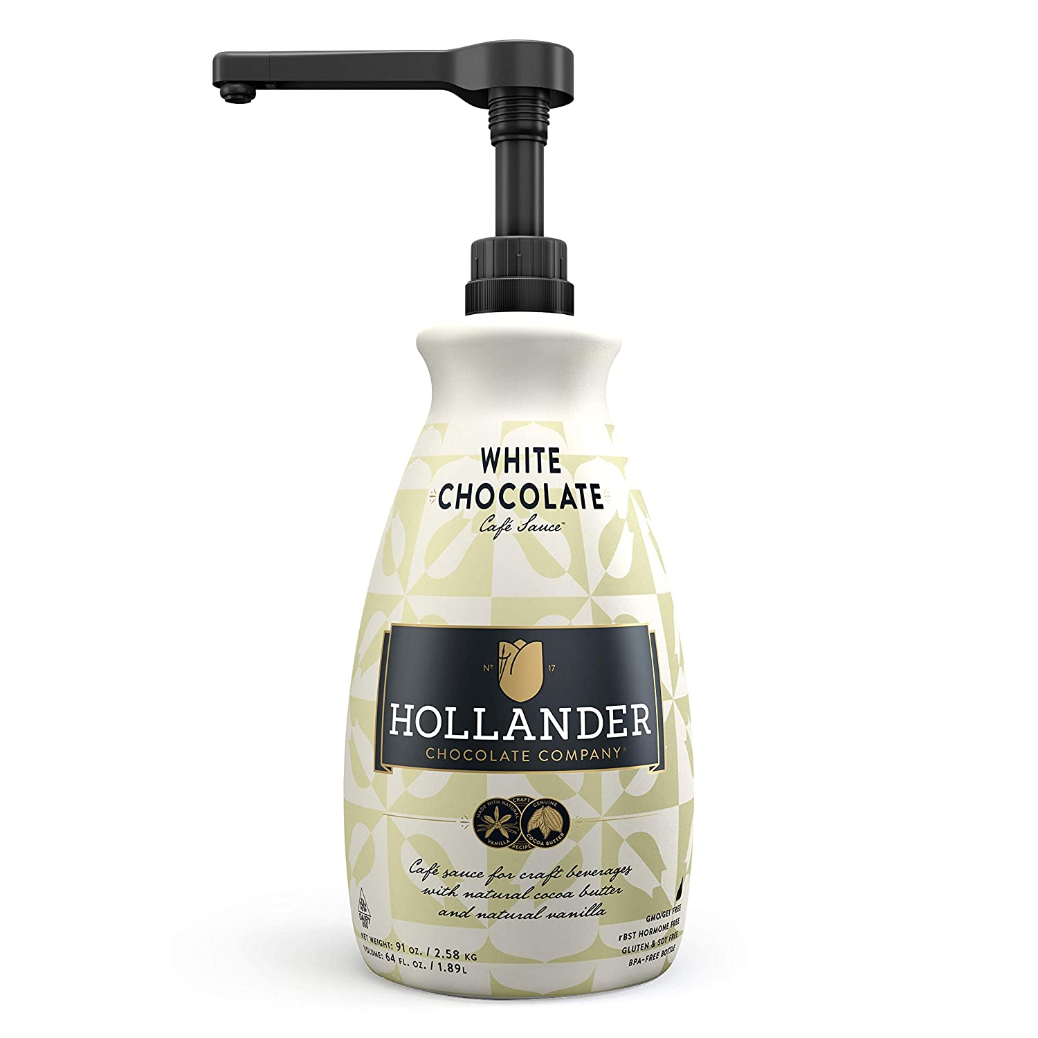 White Chocolate Café Sauce by Hollander Chocolate Co. | Perfect for the Professional or Home Barista | Net Wt. 91oz (64 fl. Oz.) Large Bottle (PUMP Included)