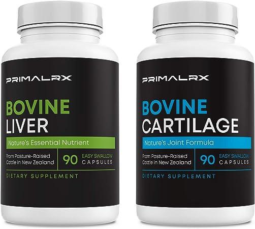 PRIMALRX Bundle: Bovine Liver (Grass Fed Beef Liver Capsules) + Bovine Cartilage (Grass Fed Beef Cartilage/Collagen Pills) - 90 Dessicated Beef Liver Capsules + 90 Grass Fed Collagen Capsules