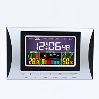 hiyoo Digital Wireless Weather Station with Indoor/Outdoor Wireless Sensor – Higrómetro Termómetro with large