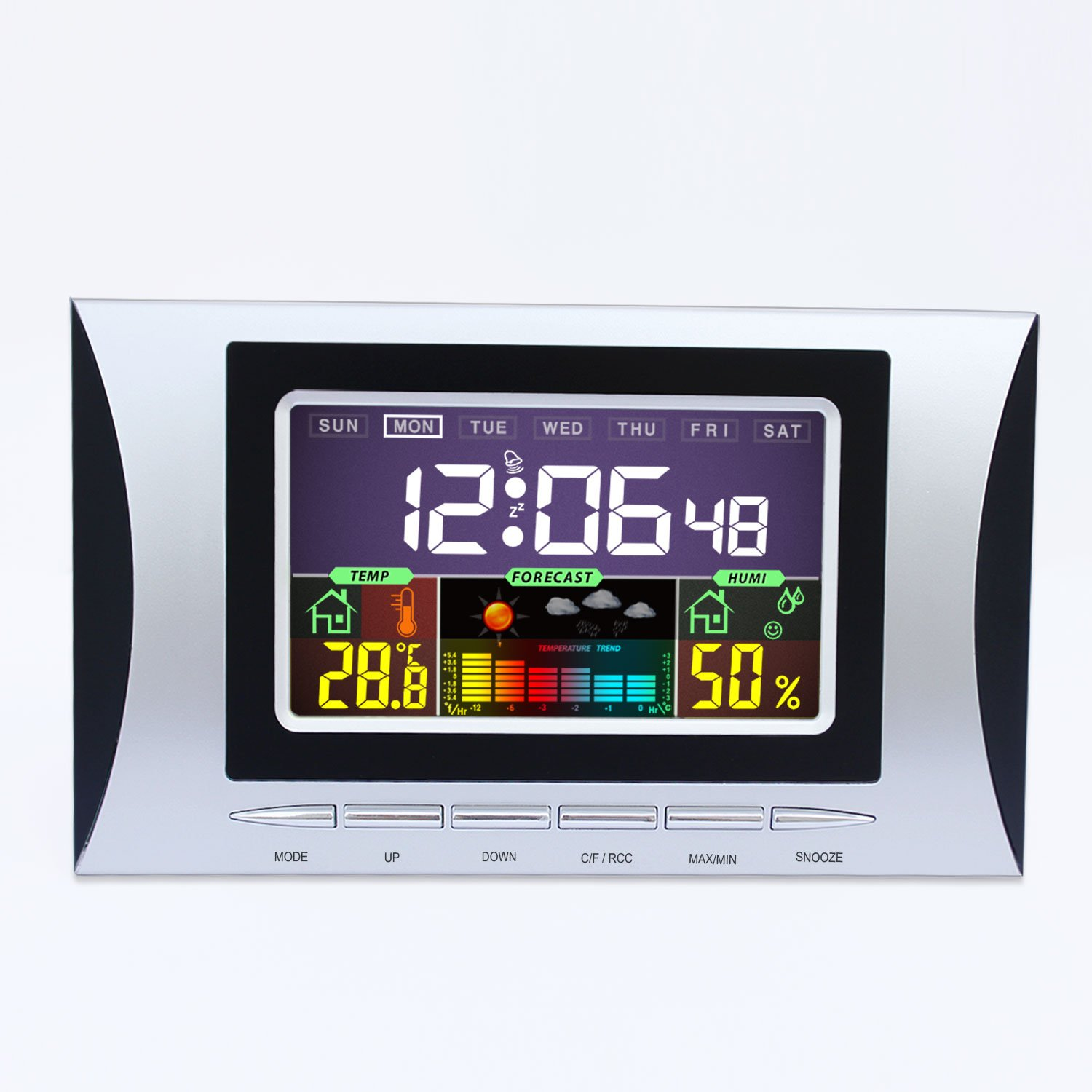 Hiyoo Temperature Station with Color LCD Screen Digital Humidity Meter Monitor Professional Indoor Temperature Meter Multi-functional Black Light Weather Station with Alarm Clock Calendar Alarm Snooze