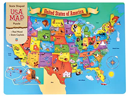 Amazon.com: MasterPieces USA 44 Piece Wood Map Puzzle: Toys ...