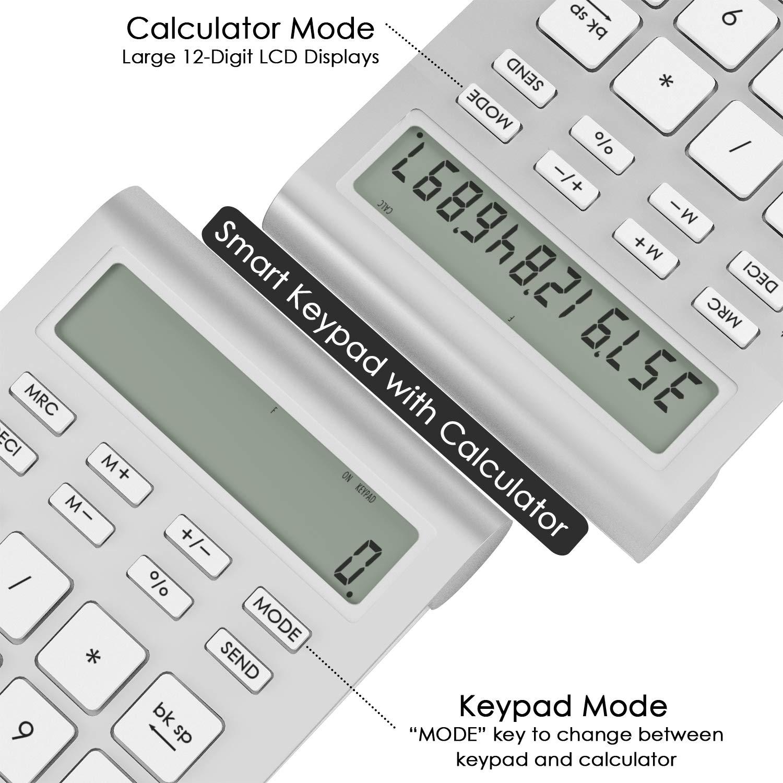 Cateck Wireless Bluetooth Numeric Smart Keypad with Calculator for iMac Wireless 10 Key Number pad for mac Bluetooth Numeric keypad for Laptop MacBooks Ten Key MacBook pro Calculator PCs