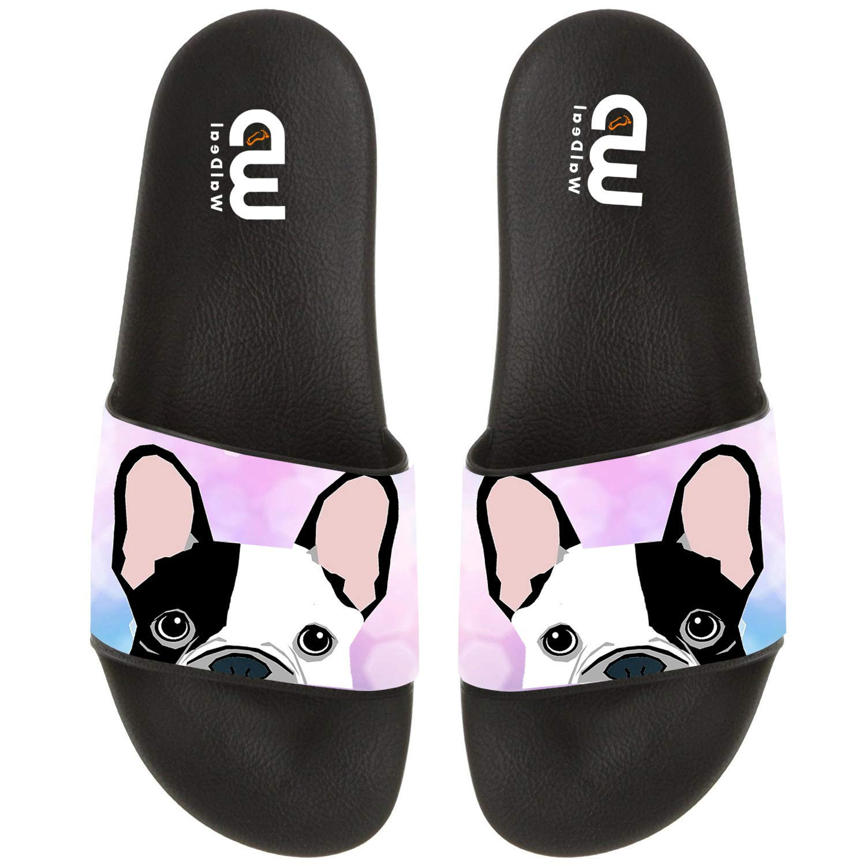 Cartoon French Bulldog Print Summer Slide Slippers for Men Women Indoor Open-Toe Sandal Shoes Shoes