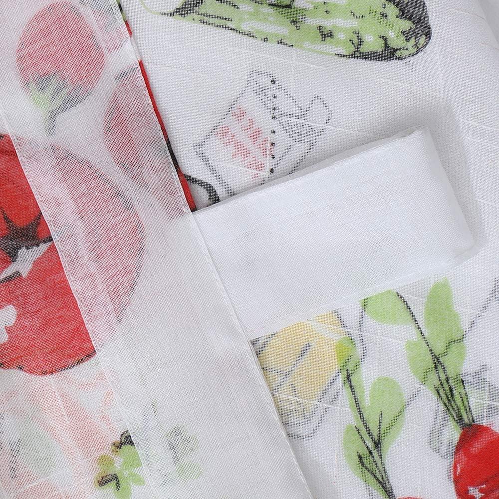 Cortina Translucidas para Dormitorio o Cocina Decoraci/ón de Ventanas Frenessa 1 Pieza Visillo Estampadas con Presillas Dise/ño de Vegetales 140 x 140 cm