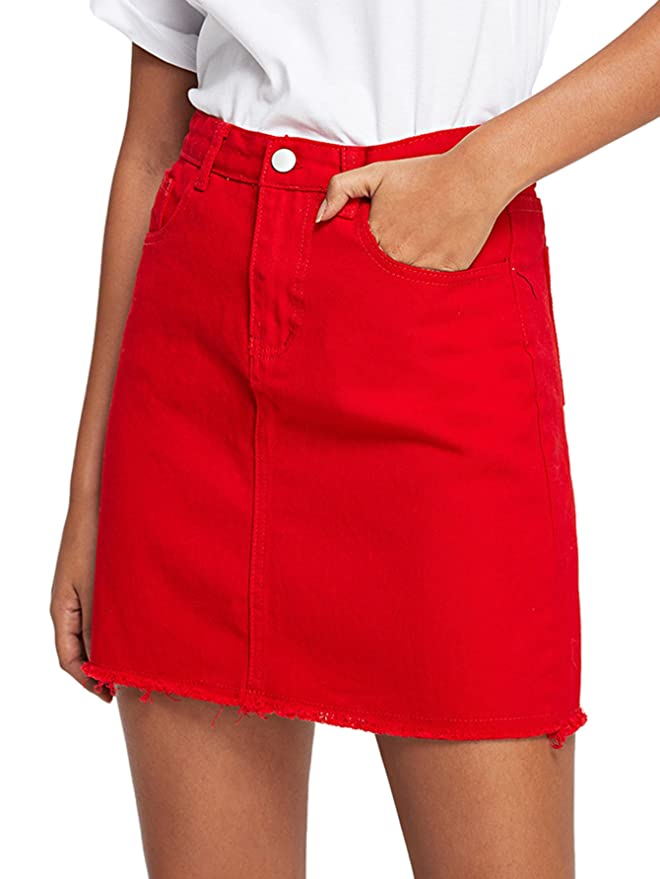 Verdusa Women's Casual Distressed Fray Hem A-Line Denim Short Skirt 1-Red M