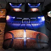Mozeo 3D Basketball Bedding Duvet Cover Set 3 Piece (1 Duvet Cover+2 Pillowcase) for Teen Boys Sports Microfiber Bedding…