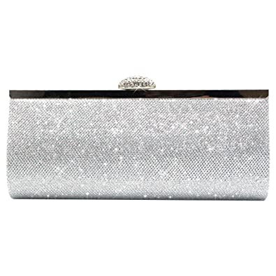 13e0925386 Wocharm Womens Silver Gold Bridal Prom Party Purse Sparkly Glitter Clutch  Bag (Synthetic Silver)
