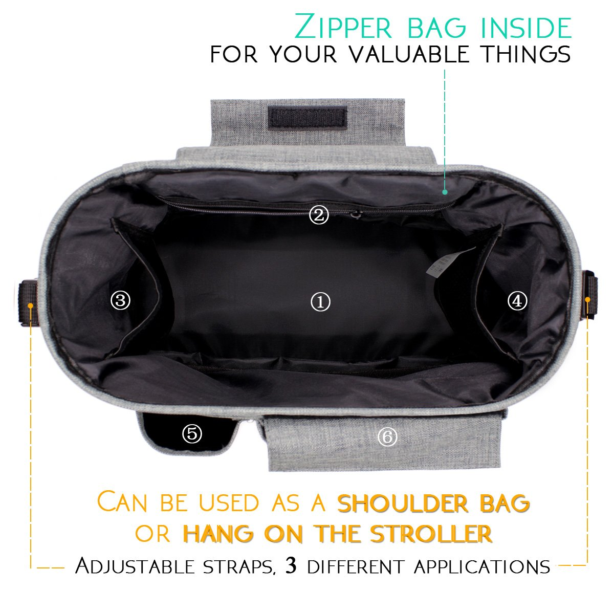 Airlab Stroller Organizer, Parents Organizer Bag, 2 inch Enlarge, Deep Bottle Cup Holder, Extra-Large Storage Space Fits Universal Stroller for Baby Accessories, Diapers, iPhone, Wallets, Waterproof by Airlab (Image #2)