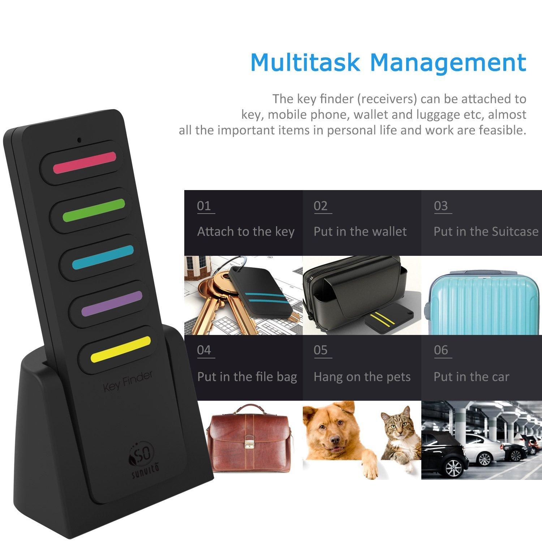 Key Finder, 6 in 1 Wireless Tracker Localizzatore di telecomando Dispositivo Anti-perso Portachiavi Supporto per telefono, portafoglio, allarme bagagli, 1 trasmettitore RF e 5 ricevitori (nero 1)