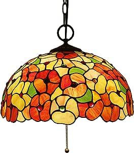 16 Inch Large Tiffany Style Pendant Lighting for Living Room,Handmade Stained Glass Flower Art Lampshade Chandelier,Vintage Ceiling Light for Bedroom,E27 3 Lights,110-240V,Pull Switch