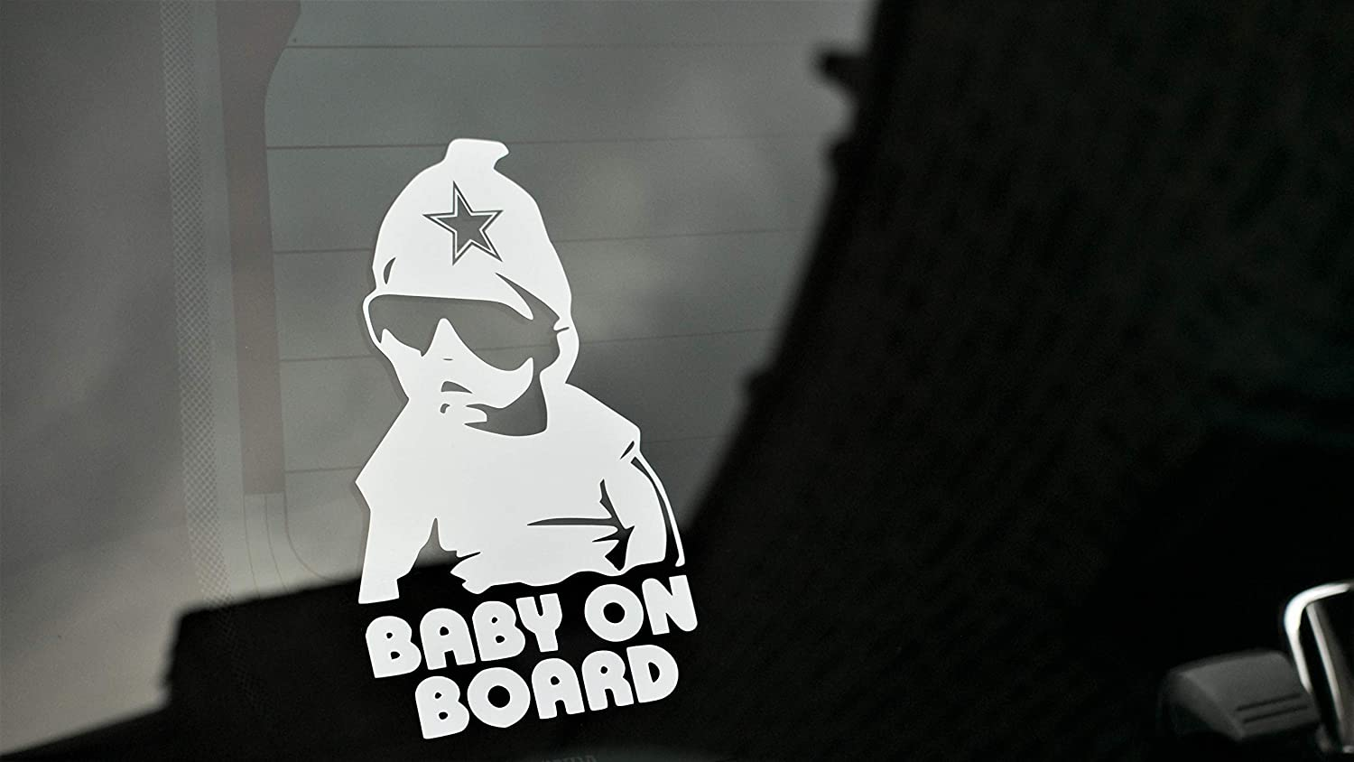 AVP BABY ON BOARD Dallas Cowboy Edition 7.5 H Premium Vinyl Decal Sticker in White Promotes Safety and Road Awareness