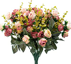 Foraineam 4 Pack Artificial Flowers Silk Rose Fake Flower Bouquet Vintage Mini Floral Leaf Bouquet Party Wedding Home Office Decor